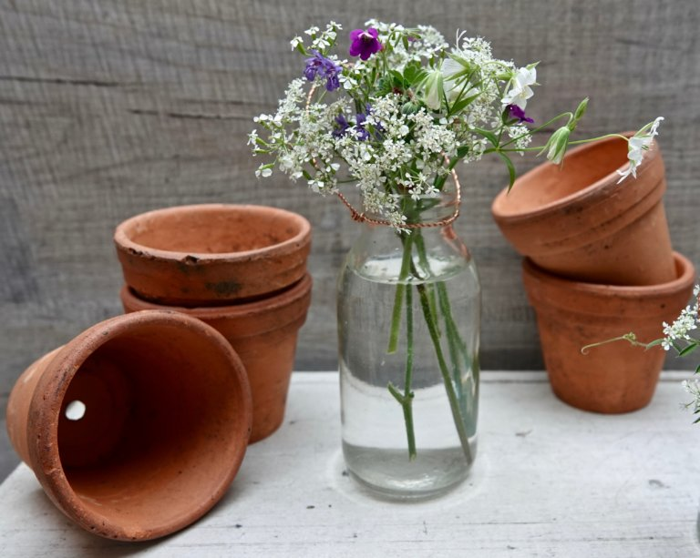Vintage French Terracotta Pots - Five