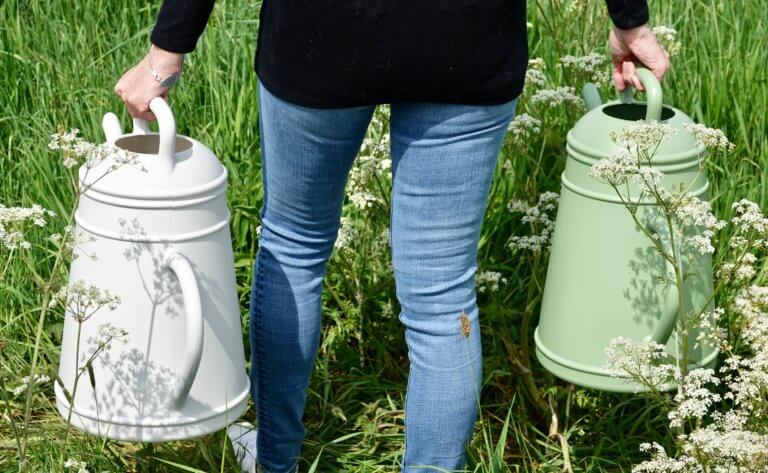Large Coffee Pot Watering Can 12 ltr Available In Green & Off White